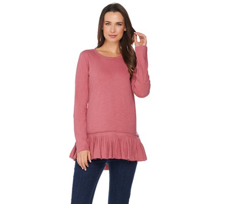 """As Is"" LOGO by Lori Goldstein Cotton Slub Knit Top with Pleated Peplum"