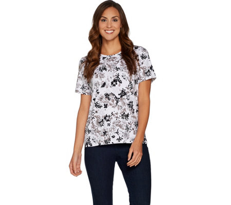 Denim & Co. Perfect Jersey Short Sleeve Floral Print Round Neck Top
