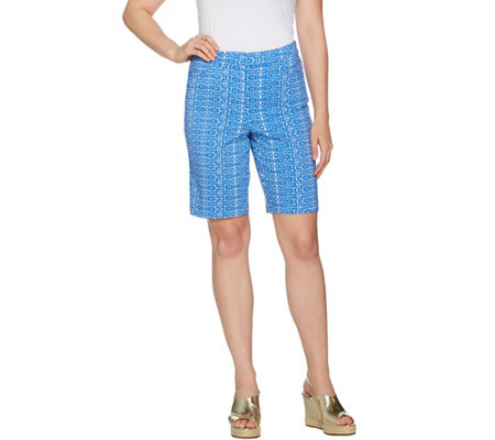 """As Is"" Susan Graver Printed Uptown Stretch Fly Front Bermuda Shorts"