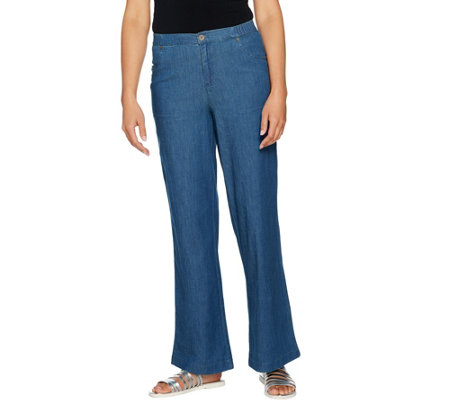 """As Is"" Denim & Co. Stretch Wide Leg Full Length Chambray Pants"