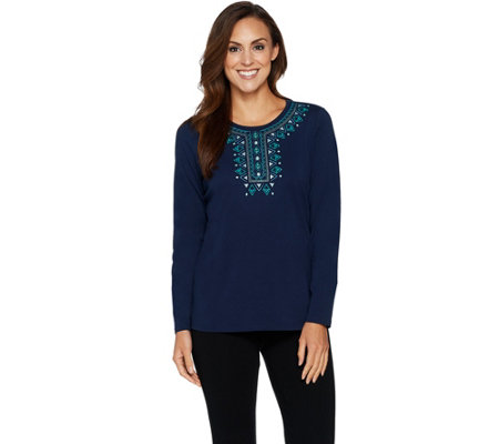 """As Is"" Denim & Co. Long Sleeve Round Neck Top w/Embroidered Neckline"