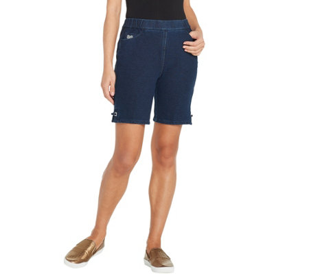 Quacker Factory DreamJeannes Pull-On Shorts with Sparkle Grommet