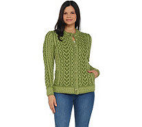 Aran Craft Hearts & Kisses Button Front Sweater Cardigan - A305726
