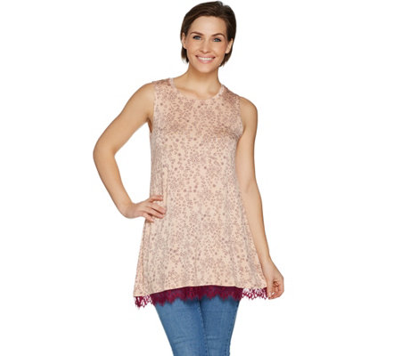 """As Is"" LOGO Layers by Lori Goldstein Printed Top w/ Lace at Hem"