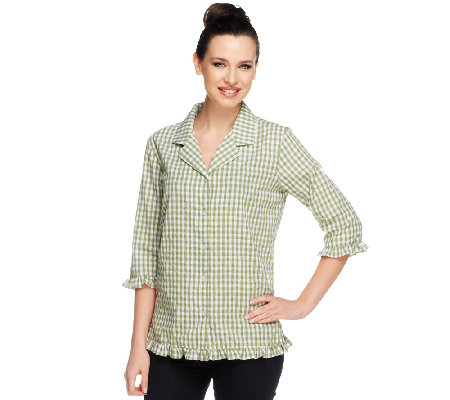 Denim & Co. Seersucker Gingham 3/4 Sleeve Ruffle Shirt