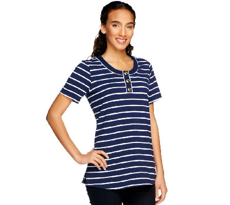 Denim & Co. Perfect Jersey Short Sleeve Striped Henley Tunic