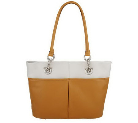 Tignanello Two Tone Glove Leather East/West Tote Bag