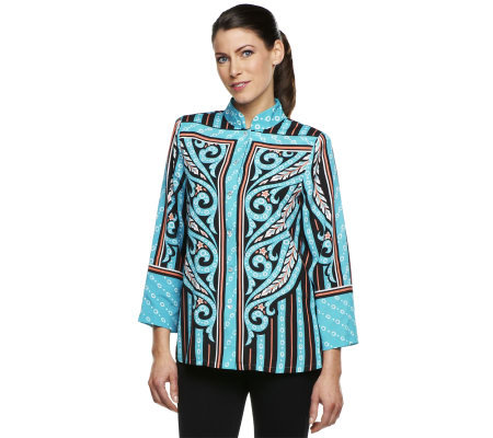 Bob Mackie's Placement Print Mandarin Collar Blouse with Button Front