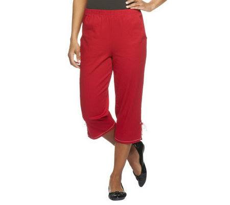 "Denim & Co. ""How Timeless"" Side Pocket Capri Pants w/ Bottom Slit"