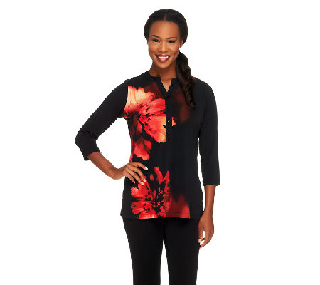 Susan Graver Placement Print Liquid Knit Top with 3/4 Sleeves