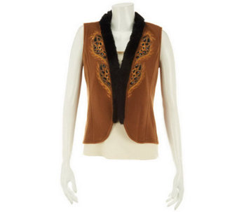 Bob Mackie's Embroidered Fleece Vest Faux Fur Trim - A229727
