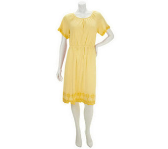 Liz Claiborne New York Short Sleeve Knit Dress with Embroidery - A234027