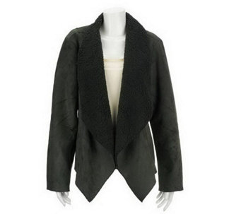 """As Is"" Denim & Co. Faux Suede Cascade Front Jacket with Sherpa Lining - A235827"