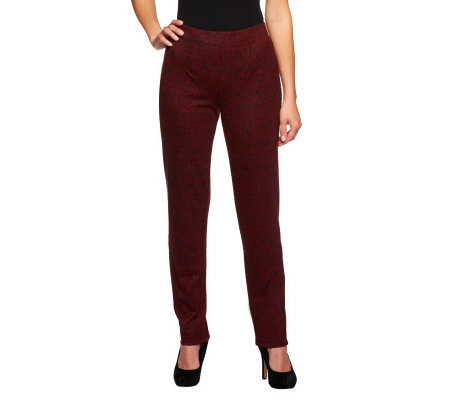 Susan Graver Printed Knit Pull-on Slim Leg Pants