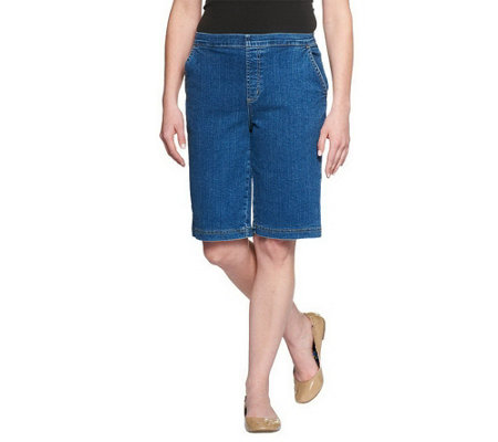 """As Is"" Denim & Co. Classic Waist Stretch Flat Front Shorts"