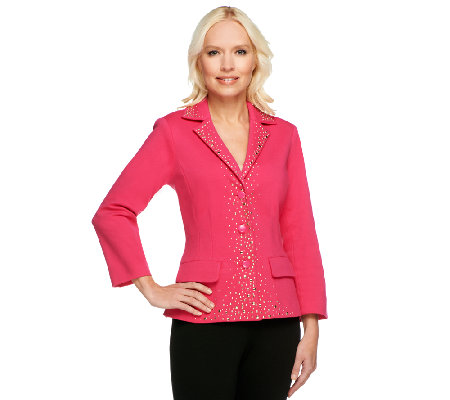 Joan Rivers Embellished Ponte Knit Bracelet Sleeve Jacket