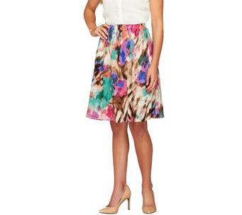 Sunny Leigh Release Pleat Printed Pull-on Skirt with Lining - A253927