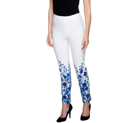 Isaac Mizrahi Live! 24/7 Stretch Floral Print Ankle Pants