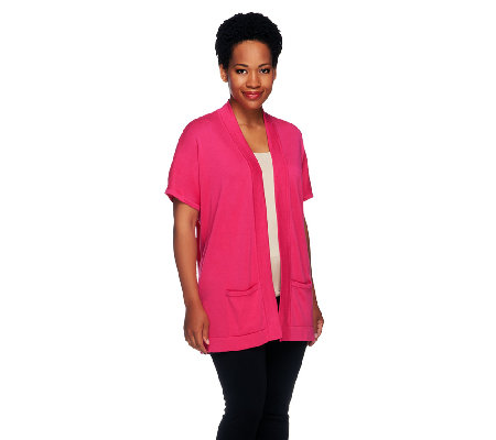 Joan Rivers Short Sleeve Drop Shoulder Knit Cardigan