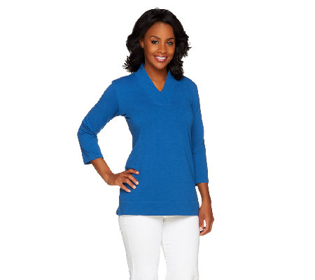 Susan Graver French Terry 3/4 Sleeve V-Neck Top with Side Slits