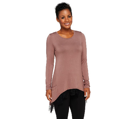 LOGO by Lori Goldstein Knit Top with Lace Trim