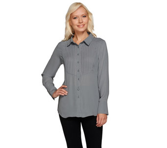 Joan Rivers Tuxedo Blouse with Long Sleeves - A258227