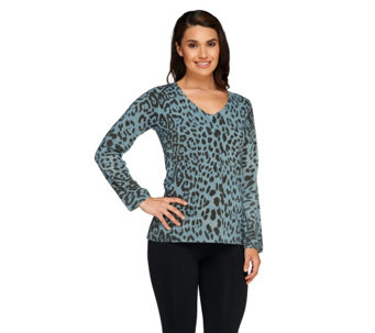 Susan Graver Printed Plush Knit Long Sleeve V-Neck Sweater - A258627