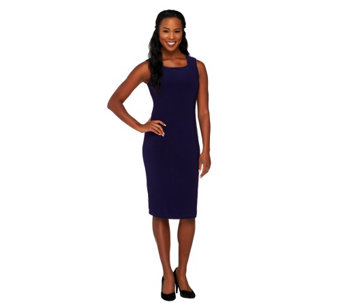 Joan Rivers Petite Luxe Knit Square Neck Sheath Dress - A258827