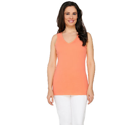 Isaac Mizrahi Live! Double V-Neck Knit Tank Top