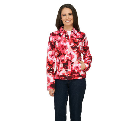 Isaac Mizrahi Live! Blurred Floral Printed Knit Denim Jacket