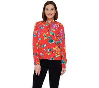 Susan Graver Printed Peachskin Zip Front Bomber Jacket - A263827