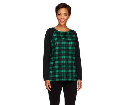 """As Is"" Denim & Co. Heavenly Jersey Plaid Knit Top with Raglan Sleeves"