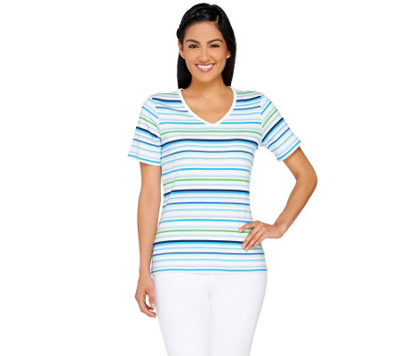 Liz Claiborne New York Striped V-neck T-shirt