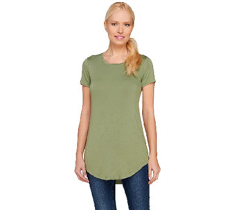 LOGO Layers by Lori Goldstein Short Sleeve Scoop Neck Top with Curved Hem - A264427