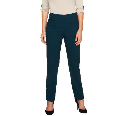 """As Is"" Susan Graver Petite Chelsea Stretch Contour Waist Zip Front Pants"