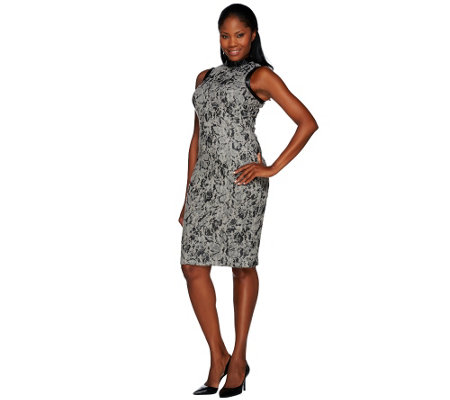 G.I.L.I. Novelty Lace Sweater Knit Sleeveless Sheath Dress
