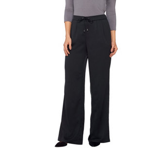 H by Halston Regular Stretch Charmeuse Wide Leg Pants - A269527