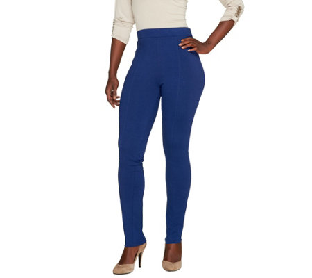 """As Is"" Susan Graver Cotton/Spandex Leggings Front Seam - Petite"