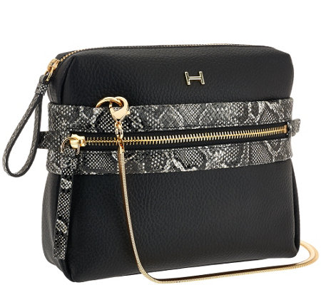 H by Halston Pebble Leather & Snake Print Crossbody Handbag