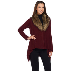 Dennis Basso Drape Front Sweater with Removable Faux Fur Collar - A270627