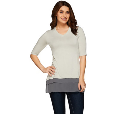 LOGO by Lori Goldstein Knit Top with Tiered Chiffon Trim