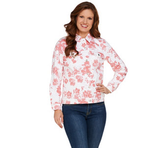 Denim & Co. Floral Printed Twill Jean Jacket - A274027
