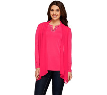 Susan Graver Artisan Liquid Knit Chiffon Front Cardigan Embellished Top - A274427