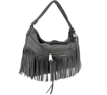 """As Is"" Aimee Kestenberg Pebble Leather Fringe Hobo - Lulu"