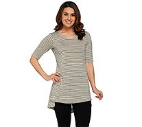 Lisa Rinna Collection Side Slit Striped Knit Tunic - A275527