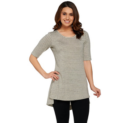 Lisa Rinna Collection Side Slit Striped Knit Tunic
