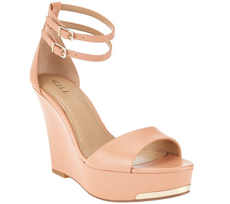 """As Is"" G.I.L.I Leather Ankle Strap Wedges - Avery"