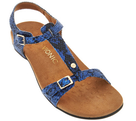 Vionic Orthotic T-Strap Sandals with Adjustable Straps - Isla