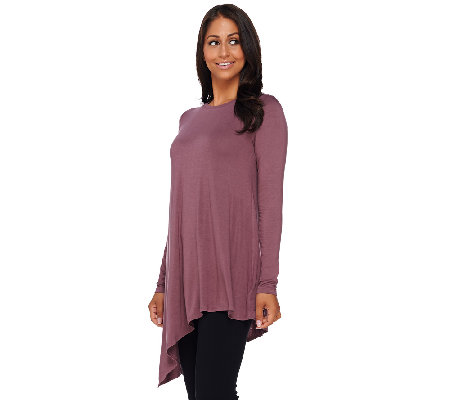"""As Is"" LOGO by Lori Goldstein Scoop Neck Knit Top with Asymmetric Hem"