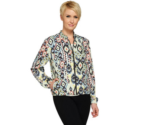 Studio By Denim & Co. Printed Zip Front Bomber Jacket